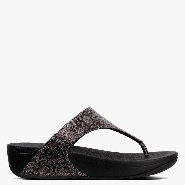 6903350e593 FitFlop Lulu Python Black Reptile Flip Flops