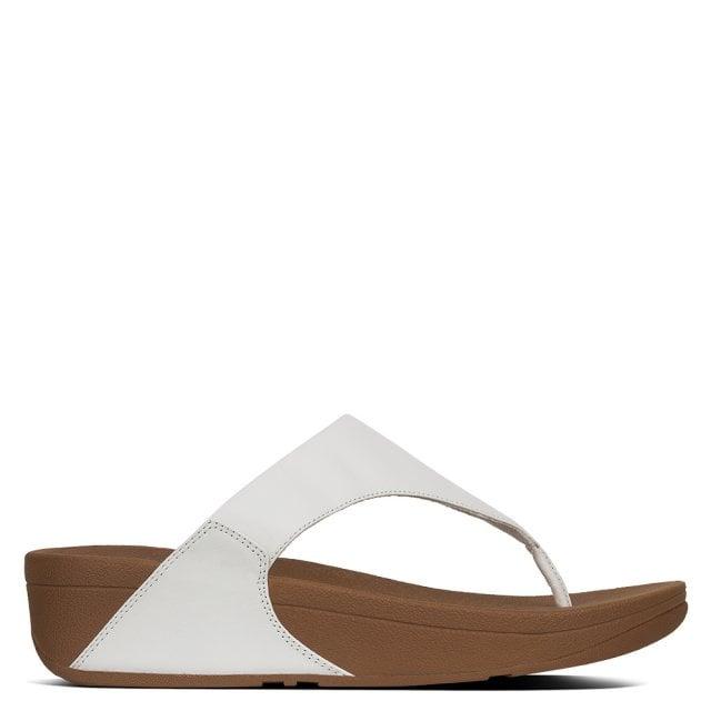 ac37634fbc77d9 FitFlop Lulu White Leather Toe Post Flip Flops