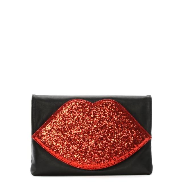 adafbc84167e Lulu Guinness Luna Red Glitter Lips Clutch Bag