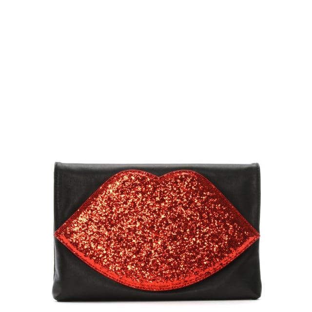 Luna Red Glitter Lips Clutch Bag