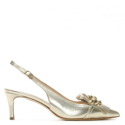 Luner Gold Metallic Leather Embellished Sling Back Heels