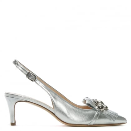 Luner Silver Metallic Leather Embellished Sling Back Heels