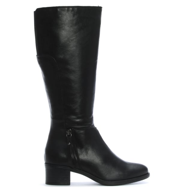 Luppy Black Leather Block Heel Knee Boots
