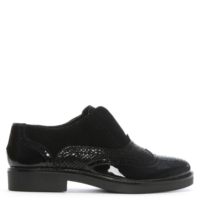 Luppy Black Patent Leather Laceless Brogues