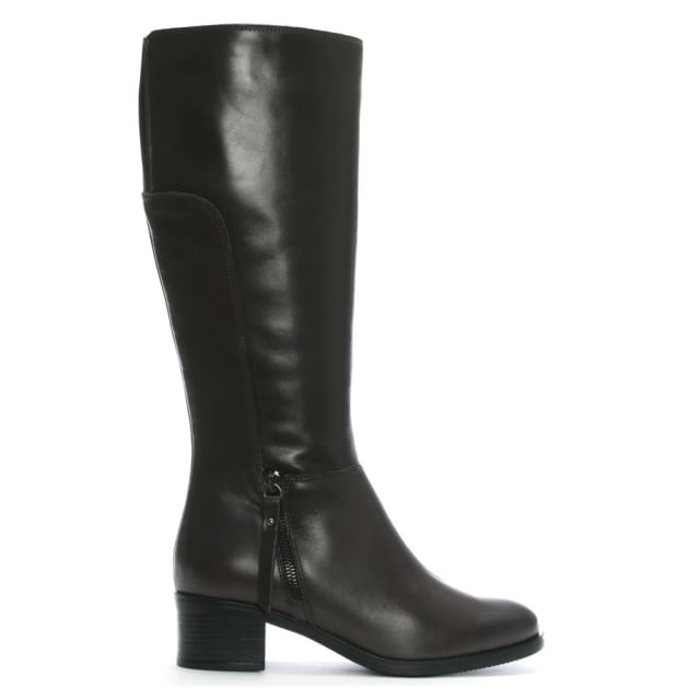 Luppy Grey Leather Block Heel Knee Boots