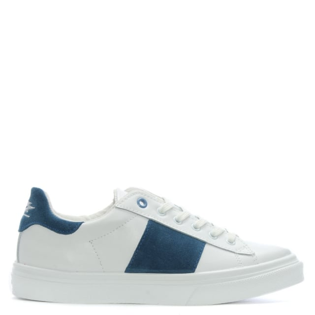 Luppy Leather Blue Contrast Strip Trainers