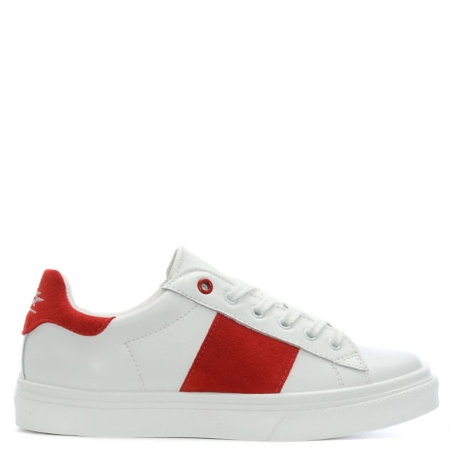 Luppy Leather Red Contrast Strip Trainers