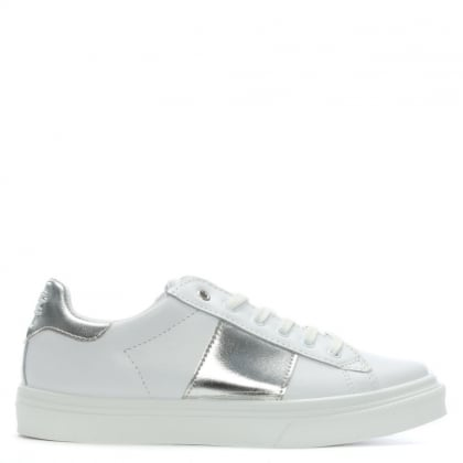 Luppy Leather Silver Contrast Strip Trainers