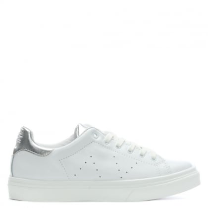 Luppy Leather Silver Contrast Tongue Trainers