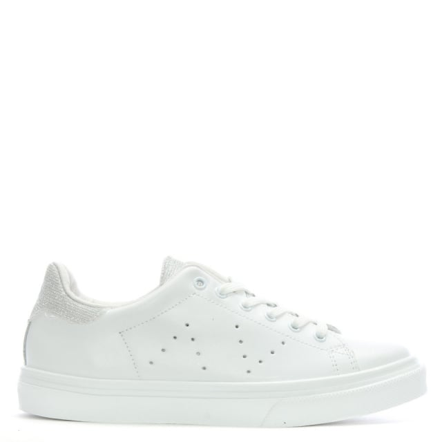 luppy white leather contrast tongue trainers
