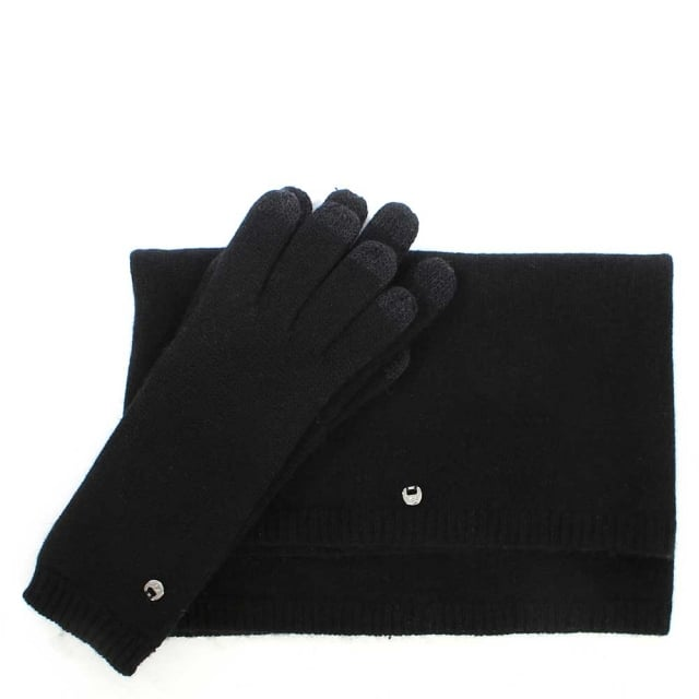 Luxe Black Matching Scarf & Glove Set
