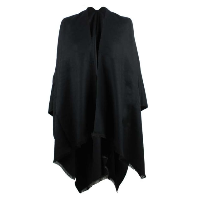 Luxe Black Wool & Silk Mix Cape