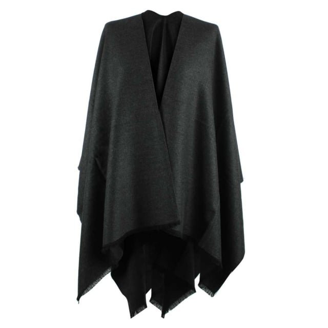 Luxe Grey Wool & Silk Mix Cape