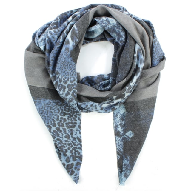 Luxe Stripe Navy Cotton Mix Leopard Scarf