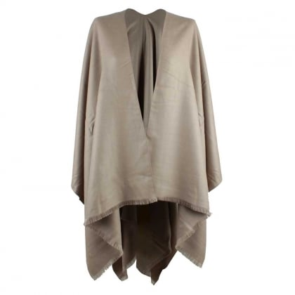 Luxe Taupe Wool & Silk Mix Cape