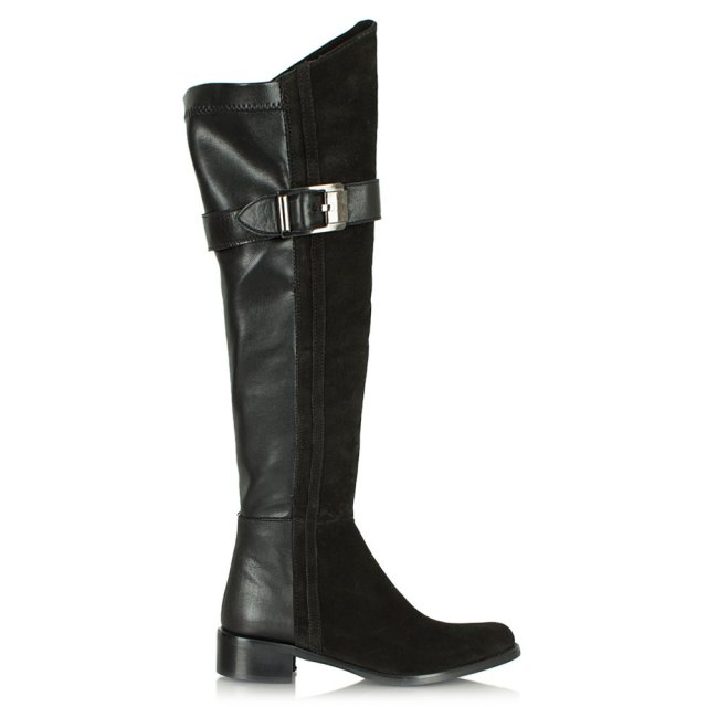 Luxury Black Suede & Leather Knee High Boot
