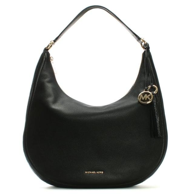 cf78b823e65b Michael Kors Lydia Large Black Tumbled Leather Hobo Bag