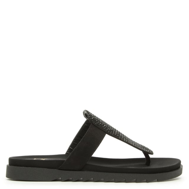Lydiard Black Crystal Covered T-Bar Toe Post Sandal
