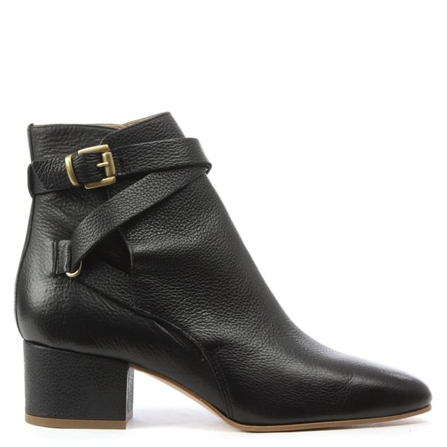 Lyndhurst Black Leather Ankle Strap Boot
