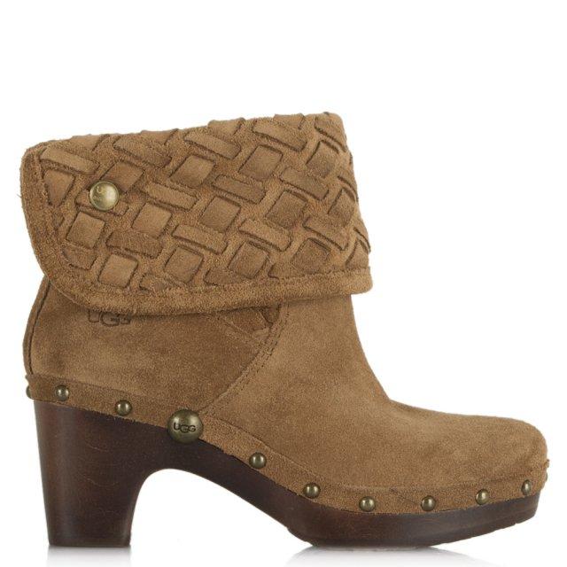 488b21e2cc0 Lynnea Weave Tan Suede Ankle Boot