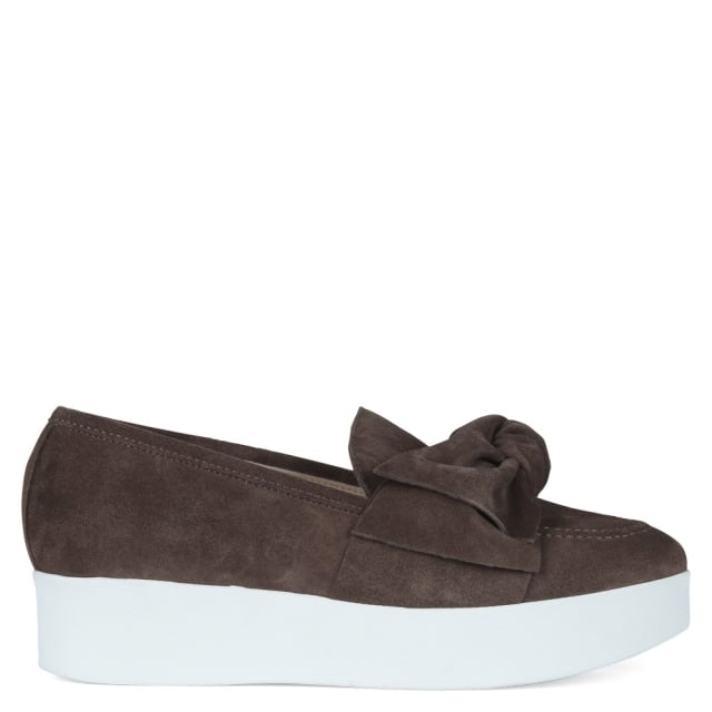 Lynx Brown Suede Knotted Flatform Loafers