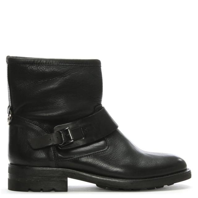 Hudson Mac Black Leather Biker Boots