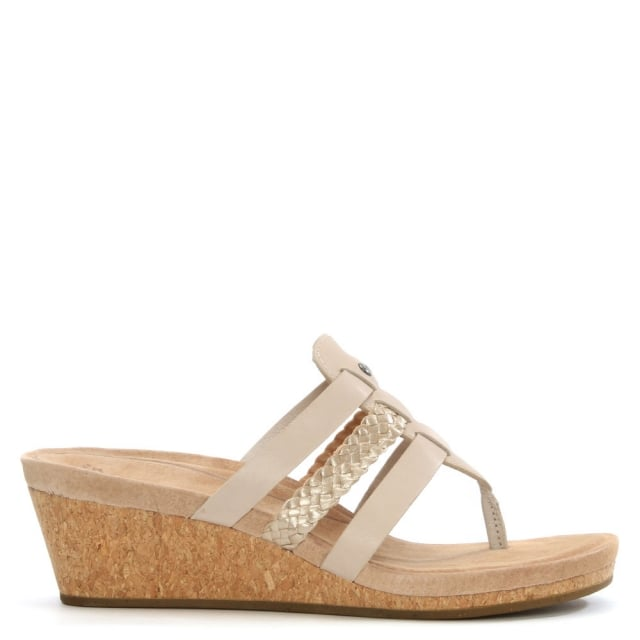 Maddie Horchata Leather Woven Strap Wedge Sandal