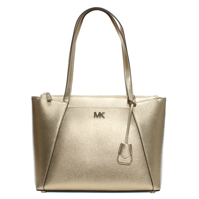 e929843f9d9b Michael Kors Maddie Pale Gold Leather East West Tote Bag
