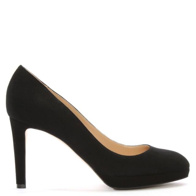 Sergio Rossi Madison 75 Black Suede Platform Court Shoes