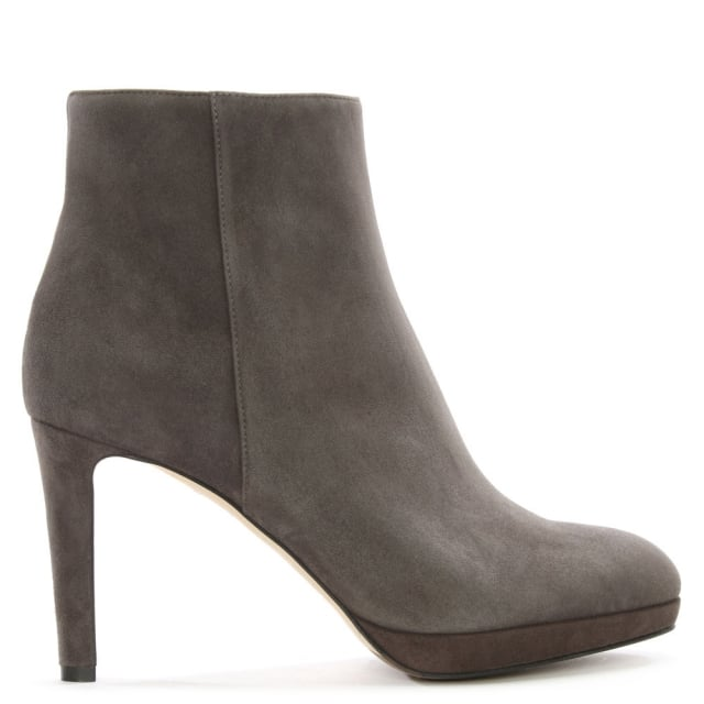 Sergio Rossi Madison 75 Grey Suede Ankle Boots