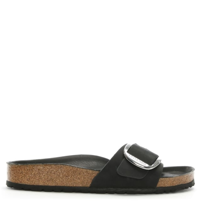 a4b295fe9e1 Birkenstock Madrid Big Buckle Black Leather Mules