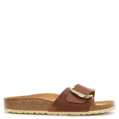 Madrid Big Buckle Tan Leather Mules