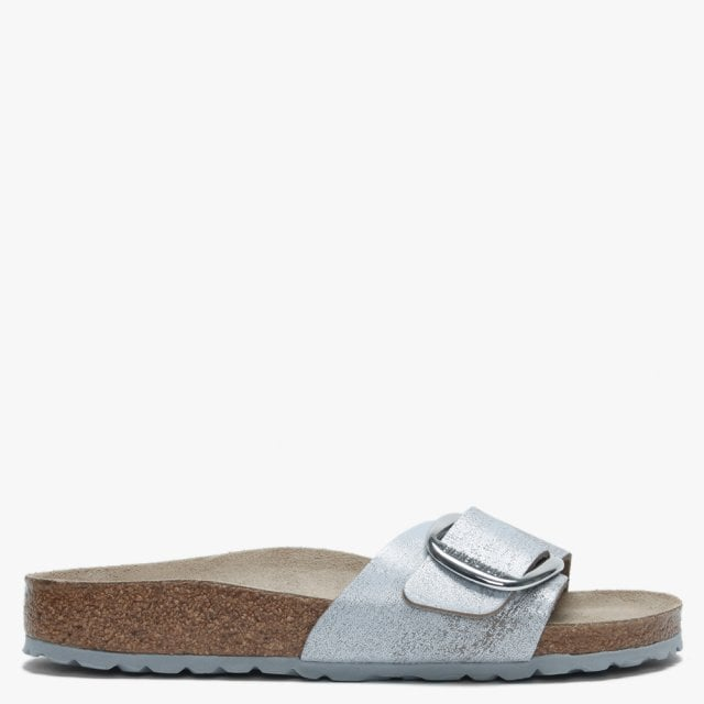 9dec6afcf6f Birkenstock Madrid Big Buckle Washed Metallic Blue Silver Leather Mules