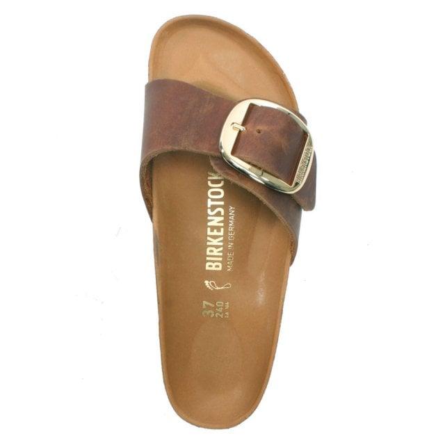 e2210156f85 Birkenstock Madrid Wide Fit Big Buckle Cognac Oiled Leather Mules