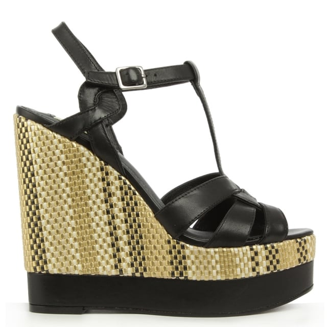 Maeva Black Leather T Bar Wedge Sandal
