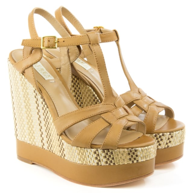 70c6631e133 Lauren by Ralph Lauren Maeva Tan Leather T Bar Wedge Sandal