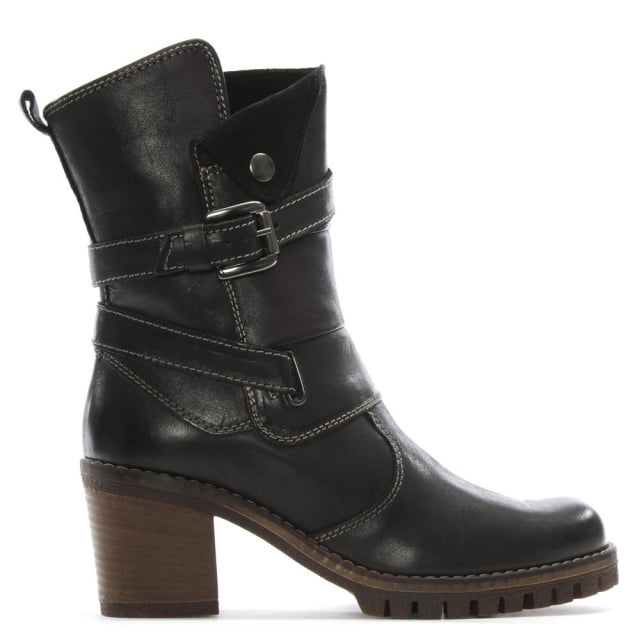 Mag Black Leather Buckle Block Heel Calf Boot