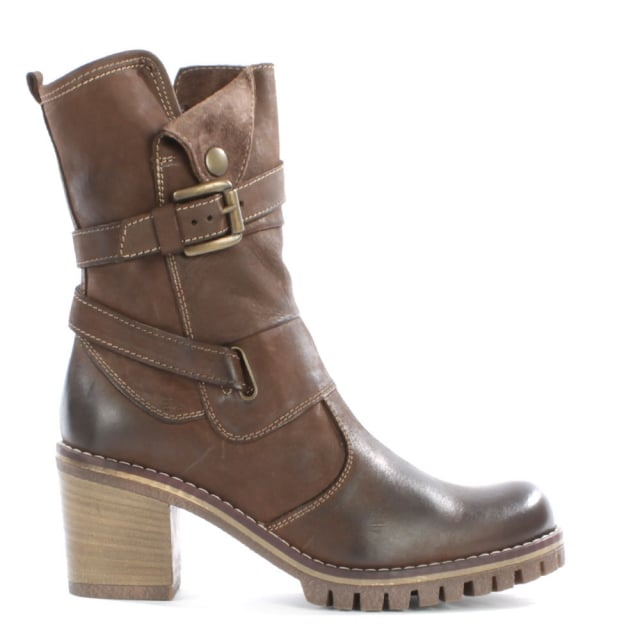 Mag Tan Leather Buckle Block Heel Calf Boot