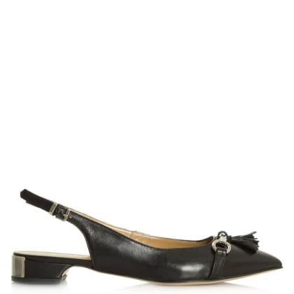 Magdalena Black Leather Low Heel Sling Back Pump