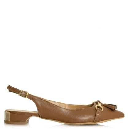 Magdalena Tan Leather Low Heel Sling Back Pump