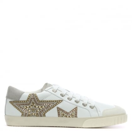 Magic White Leather Star Motif Sneakers