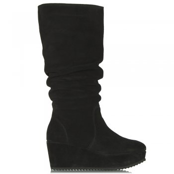 Magnes Black Suede Wedge Knee High Boot