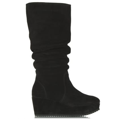 Daniel Magnes Black Suede Wedge Knee High Boot