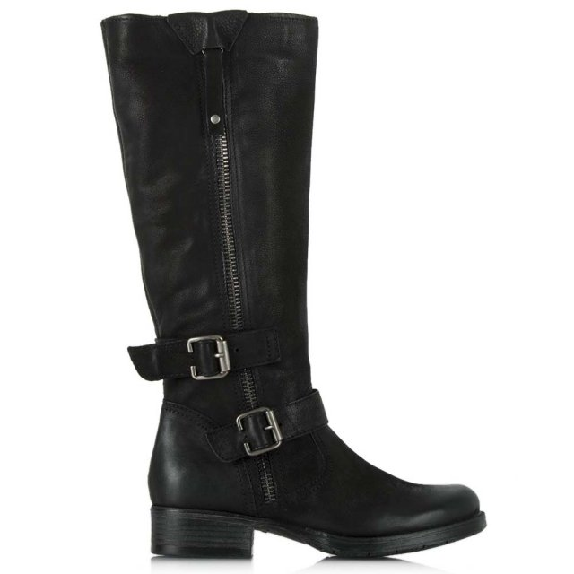 Magnificent Black Leather Zipper Detail Knee High Boot