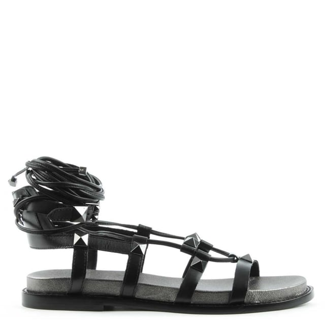 Magnum Black Leather Studded Gladiator Sandal