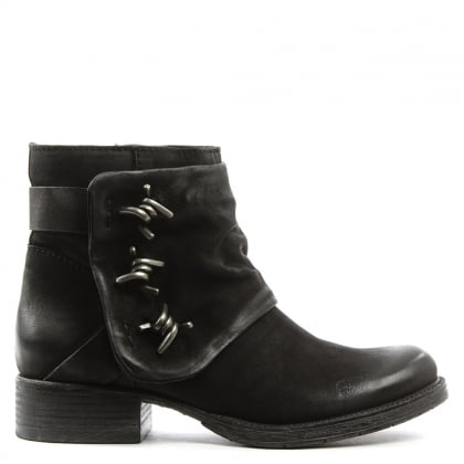 Magsy Black Leather Barbed Chunky Ankle Boot