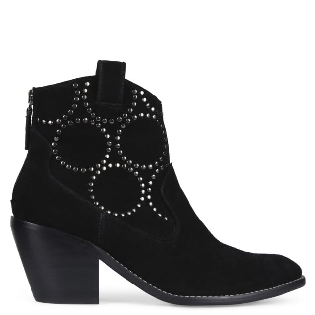 Maigret Black Suede Studded Western Boots