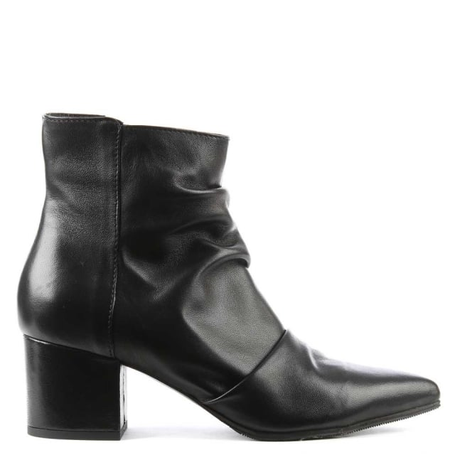 Maisie Black Leather Rouched Ankle Boot