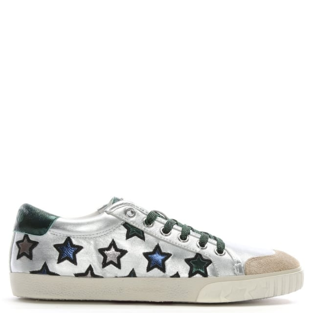 Majestic-Green-Metallic-Leather-Star-Motif-Trainers