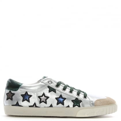 Majestic Green Metallic Leather Star Motif Trainers